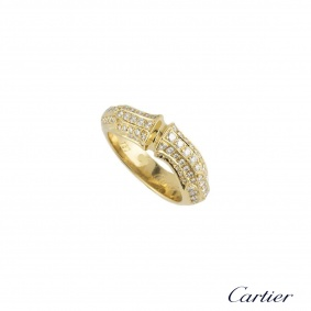Cartier Yellow Gold Diamond Set Bamboo Ring